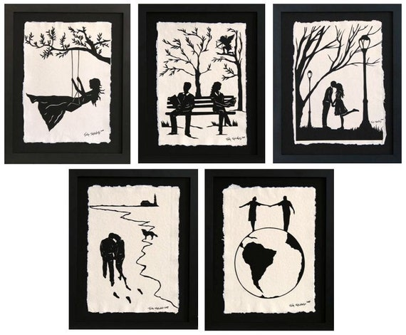 Sale 20% Off // LOVE STORY SERIES Papercuts - 5 Hand-Cut Silhouettes, Individually Framed // Coupon Code SALE20