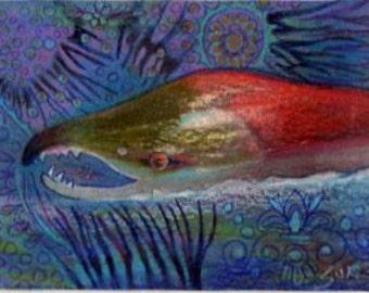 Original art drawing salmon Alaska fishing matted to 11x14 sea