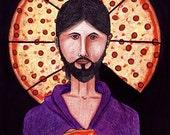 Pizza Christ ORIGINAL drawing art
