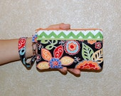 Retro Boho Blossom and Green Chevron - Double Zipper Wristlet Purse with Interior Pocket and Removable Strap