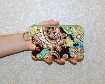 Pistachio Patti Paisley - iPhone 6s, iPhone 6, iPhone 5, iPhone 4, Samsung Galaxy S5/S6 - Cell Phone Gadget Zipper Pouch / Coin Purse