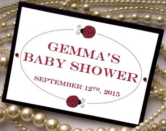 Baby Shower Card, Baby Shower Decoration, Ladybug Party, Ladybug Decorations, Childrens Party Decor, Baby Shower Sign, Baby Shower Favors