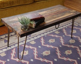 Handmade Reclaimed Wood Coffee Table with Steel Hairpin legs * FREE SHIPPING