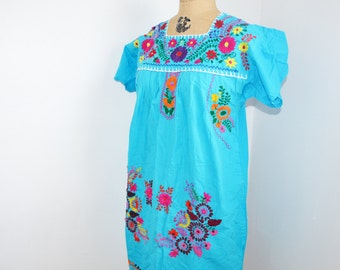 Vintage 70s Oaxacan Dress Bright Floral Embroider Mexican Festival Party  hippie dress  boho dress