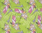 SALE fabric, Fairy fabric, Girl fabric, Tina Givens Feather Flock Fabric by Fabric Shoppe Fabrics- Fairy in Apple- Choose your cut