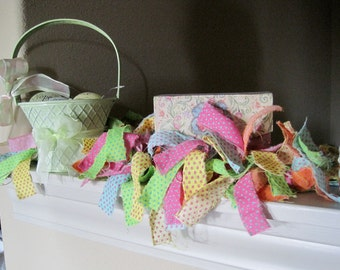 Fabric garland for spring and Easter, 48 inches, bright pastel colors