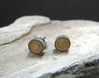 MINIATURE Rustic Peach Twig Wooden Stud Earrings by Tanja Sova