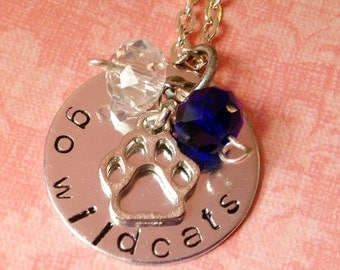 Hand Stamped Kentucky Wildcats Necklace