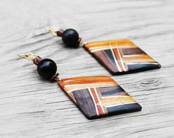 African Wood Earrings, Wood earrings, Afrocentric Earrings, Foxy Brown African Wood Earrings