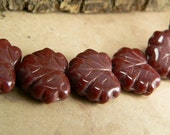 Cranberry Czech Glass Maple Leaf  Beads Red Opaque10x13mm (10)