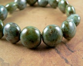 Light Green Czech Glass Beads Puffed Lentil Turquoise Picasso 11mm (15)