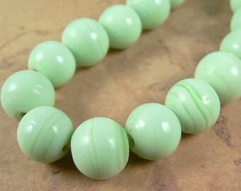Mint Green Glass 9mm Bead Strand (1 strand - 50 beads)