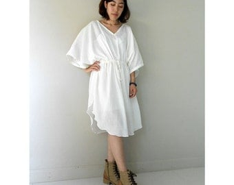 White Soft Cotton Kaftan Dress Kimono Butterfly Boho Summer  Dress S-L (W01)