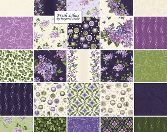 "Maywood Studio FRESH LILACS Precut 5"" Charm Pack Fabric Quilting Cotton Squares Debbie Beaves"