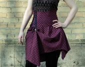 Violet skirt, asymmetrical high waist corset skirt with lacing, bustle skirt, tartan skirt, burgundy skirt, steampunk skirt MASQ