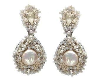 "Pearl Crystal Teardrop Wedding Earrings | Handcrafted Lace Bridal Jewelry | Beach Seaside Wedding ""Nereid"""