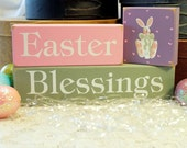 Easter Blessings Shelf Sitter Sign Blocks Hand Painted Bunny Home Decor Easter Decoration Stacking Blocks