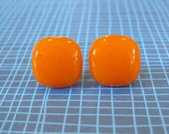 Orange Earrings, Post Earings, Orange Jewelry, Halloween, Hypoallergenic Jewelry - Pumpkin - 1922 -5