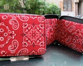 Western Cotton Red Bandanna Zip Around Men's, Kid's, Women's, Wallet