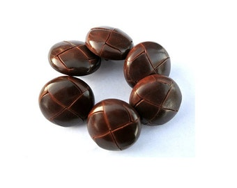 Leather buttons, 6 vintage dark brown leather buttons, 23mm