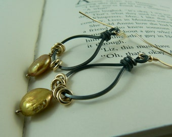 Black Silver with Antique Gold Coin Pearl Earrings