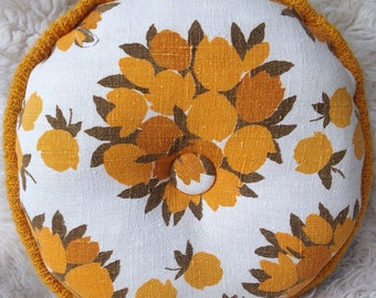 vintage round mid century modern floral pillow home decor throw upcycled yellow brown linen