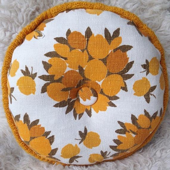 Mid Century Modern Round Pillow : vintage round mid century modern floral pillow home decor