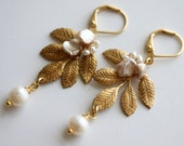 Leaf Earrings, Gold Leaf Earrings, Pearl Leaf Earrings, Wedding Earrings