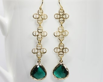 Long Emerald Earrings Green Crystal  Earrings Long Gold Filigree Dangle Earrings