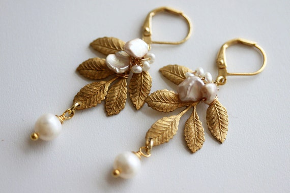 Leaf Earrings, Gold Leaf Earrings, Pearl Leaf Earrings, Wedding Earrings