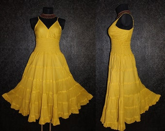 Long Yellow GYPSY PRINCESS Smock Maxi Dress Hippie Boho Size 16 18 20