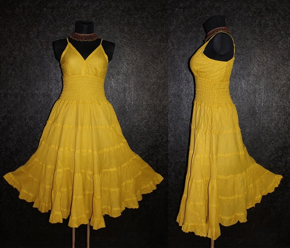 Long Yellow GYPSY PRINCESS Smock Maxi Dress Hippie Boho Plus