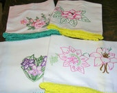 """Four Cutter Embroidered Hand Towels Bright Vintage Trim Great for Crafts 20"""" X 30 T6050"""