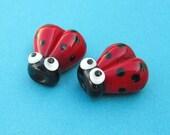 2 Glass Ladybug Beads, Lampwork Ladybug Beads, 15mm Beads, Red Ladybug, Red Ladybird, SRA Handmade Lampwork, DIY Jewelry - R