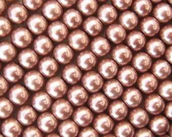 Glass Pearl Beads  - 50 pcs - 6mm Round - Brown Beads - Bronze Beads - Faux Pearls - Steampunk Beads - DIY Jewelry - Craft Beads