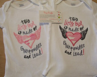 This Little Girl is made of Gunpowder and Lead Onesie Bodysuit Clothes Baby Shower Gift
