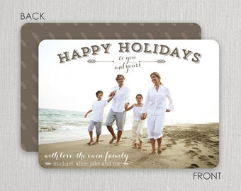 "Christmas Photo Card - ""Classic Beach"" 2 sided printing!"