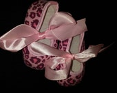 Pink Cheetah Baby Crib Shoes Sale 3M, 6M, 9M, 12-18 Months - Winter Baby Gift - Girls Booties - Clearance - Stocking Stuffer