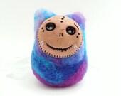 Wendy, Needle Felted Imp Sculpture, Blue Purple Colorful Felt Monster Soft Art