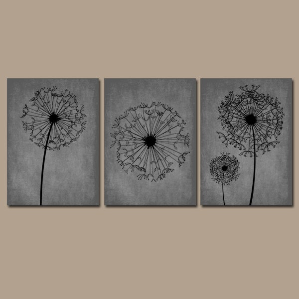 Dandelion wall art gray black bedroom wall art dandelion for Blue bathroom wall decor