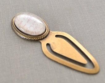 French Script Bookmark, Glass Cabochon Metal Bookmark, Vintage Paris, Metal Book Clip, Gift for Readers, Reading Clip, Lapin du Printemps