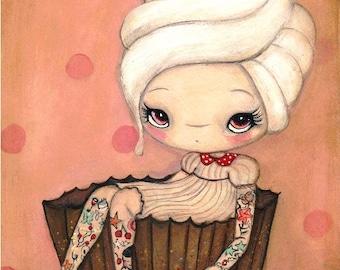 Cupcake Print Tattoo Girl Pink Cake Cherry Wall Art ---Tattood Cupcake Girl 5 x 7