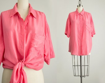 90s Vintage Pink Silk Slouchy Collared Tunic Button Up Blouse / Size Large