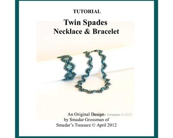 Beading Tutorial, Twin Spades Necklace and Bracelet. Beading Pattern with SuperDuo Beads, Crystals and Pearls. Beadweaving Instructions PDF