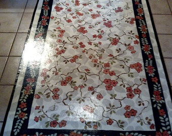 Floorcloth Hand Painted Rug Country Primitive French