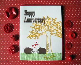 Letterpress Card - hedgehog anniversary