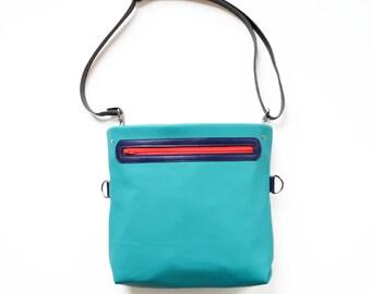 Leather Crossbody Bag / Crossbody Bag for Women / Shoulder Bag / Plus Size / Leather Bag / Adjustable Strap - The Abby Satchel in Teal