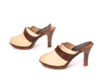 size 7 PLATFORM tan leather 70s CLOG resin summer heels