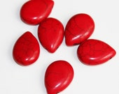6 pcs of Red Howlite Turquoise teardrop beads 20x14mm