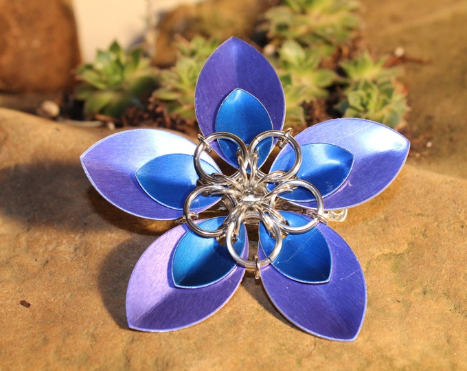 Faerie Flower Barrette - Blue on Violet - Hair Clip